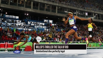 Olympic 400m gold medalist Shaunae Miller dive to the finish